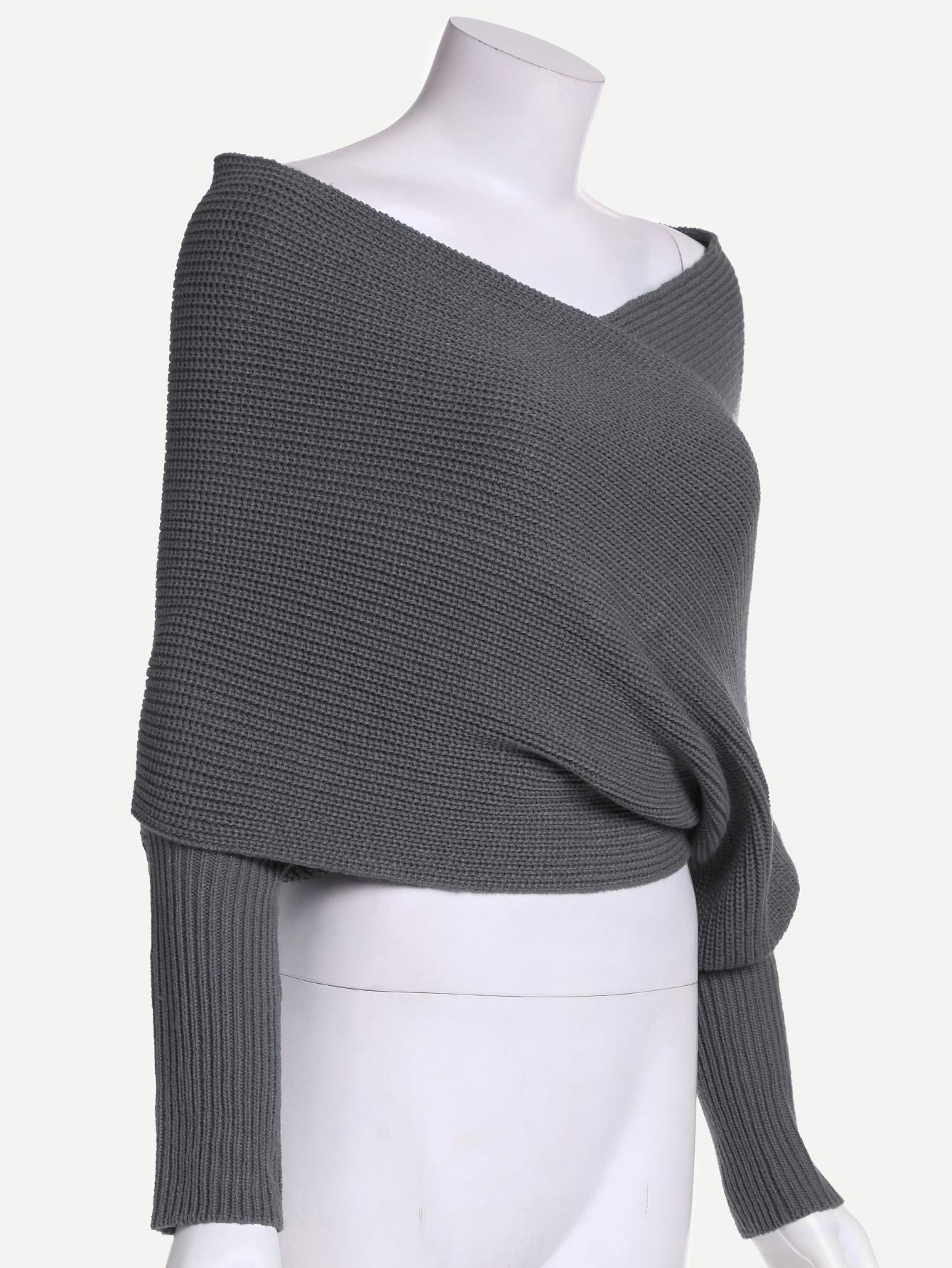 Dark Grey Off The Shoulder Sweater -SheIn(Sheinside)