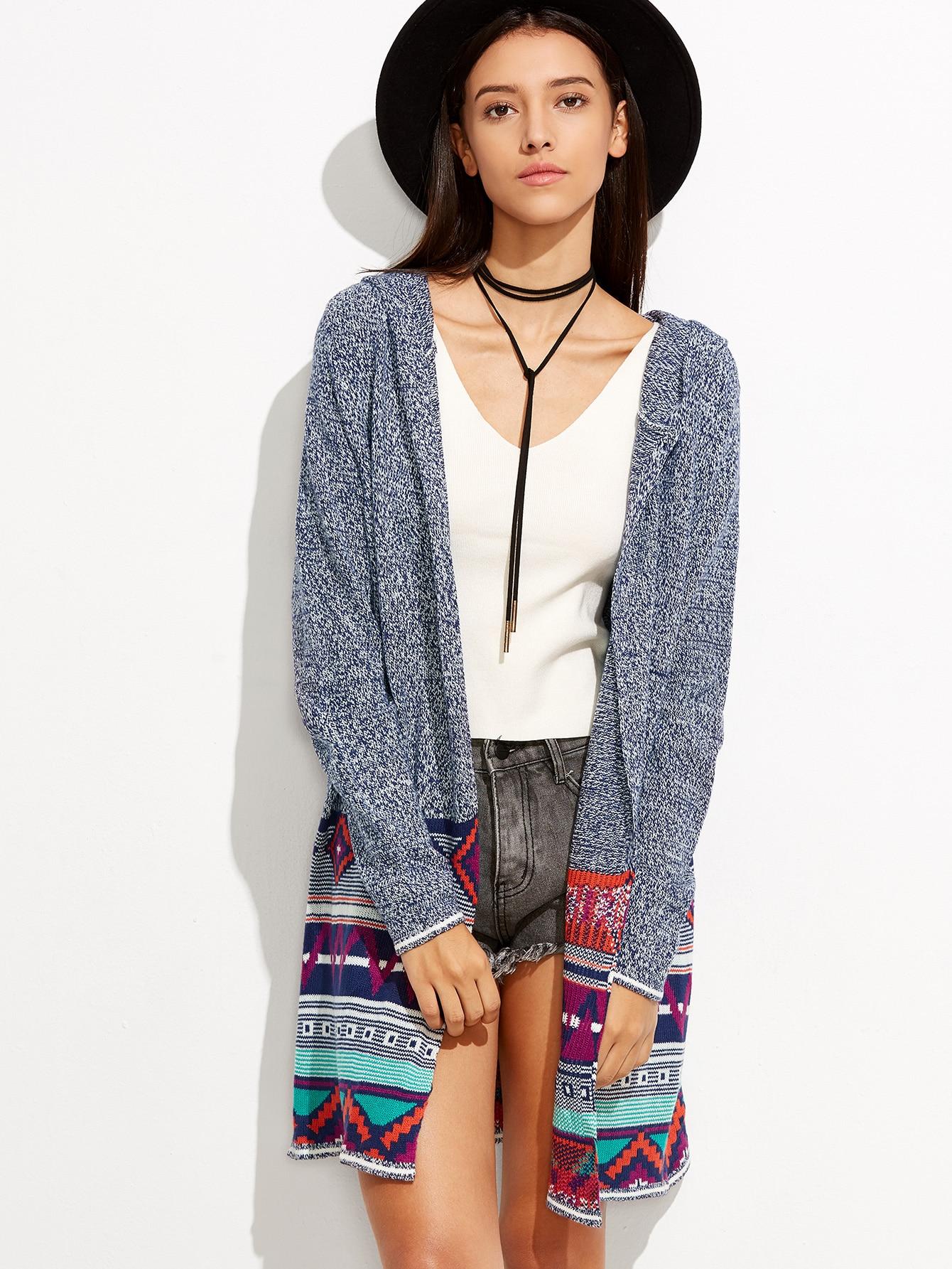 Geometric Tribal Design Hooded Cardigan -SheIn(Sheinside)