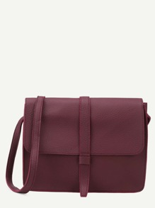 Burgundy Faux Leather Flap Messenger Bag