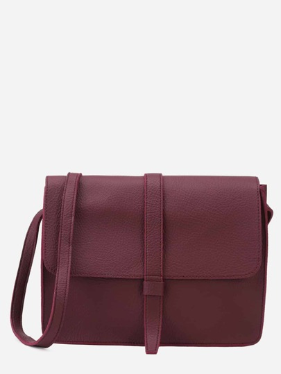 Burgundy Faux Leather Flap Messenger Bag