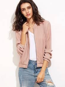 Pink Zip Up Ribbed Bomber Jacket