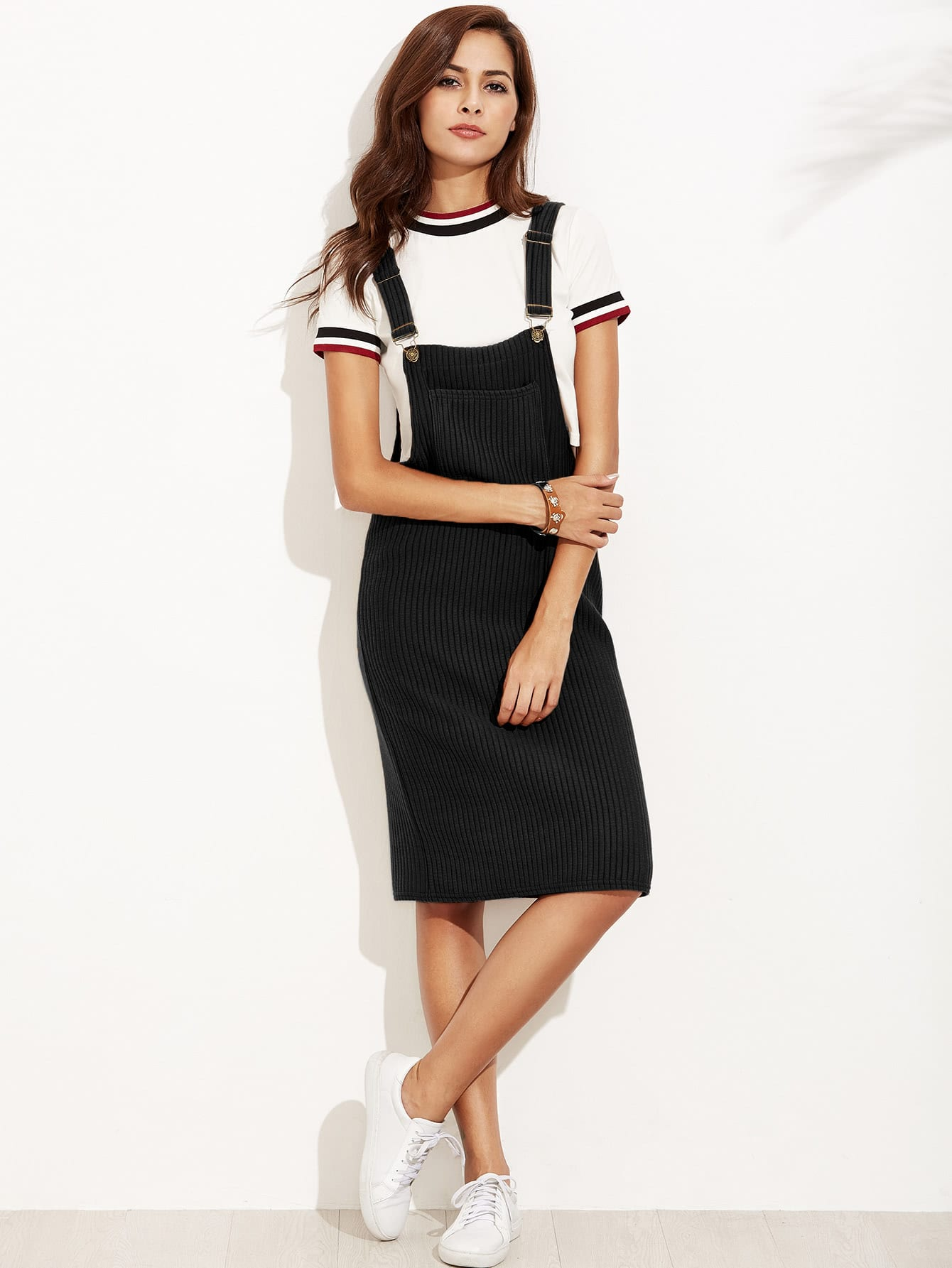 Black Ribbed Overall Dress With Pocket dress160906121