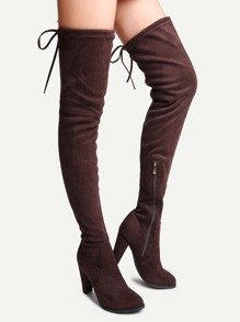 Coffee Faux Suede Tie Back Over The Knee Boots