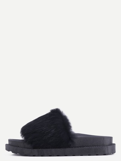Black Rabbit Hair Peep Toe Slippers