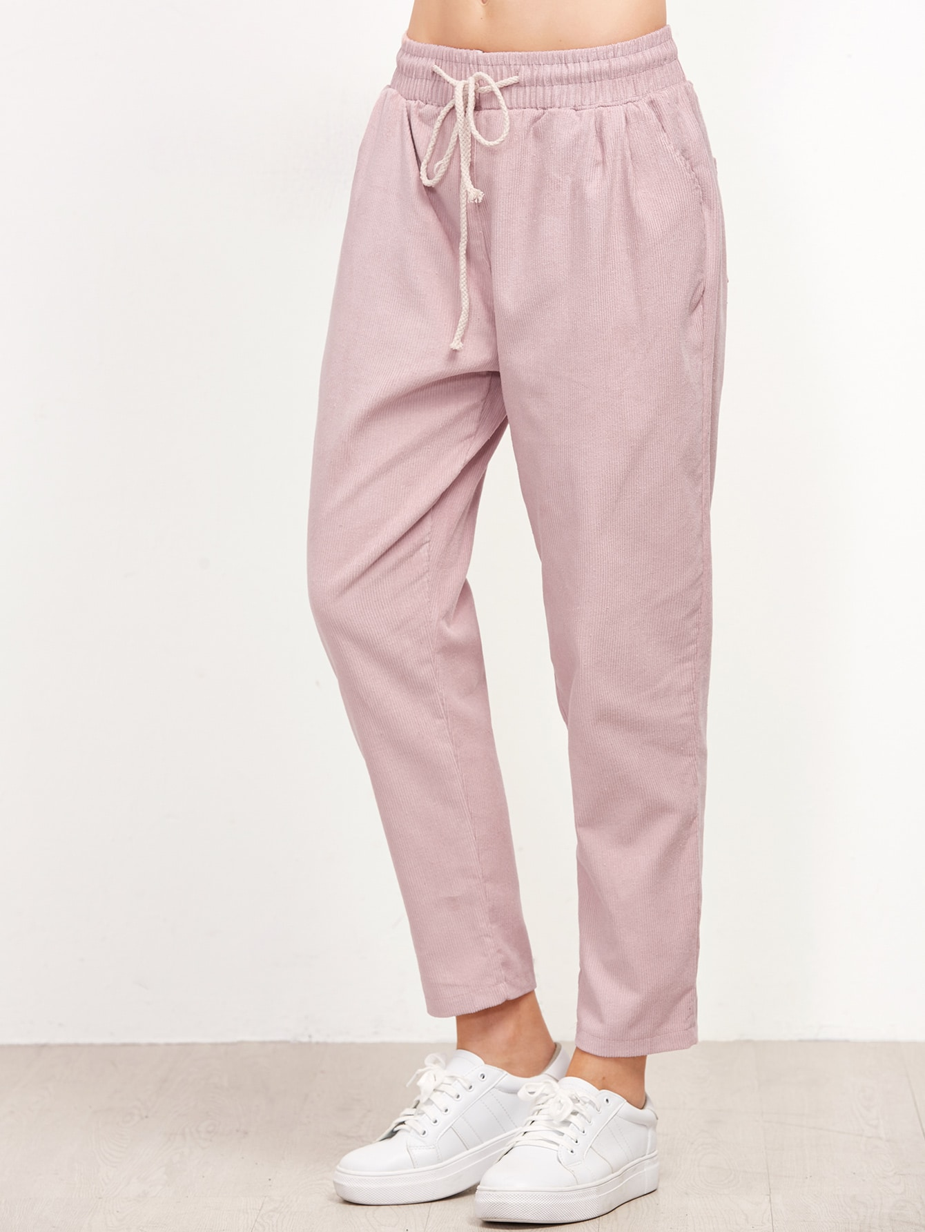 Pink Drawstring Waist Tapered PantsPink Drawstring Waist Tapered Pants<br><br>color: Pink<br>size: one-size