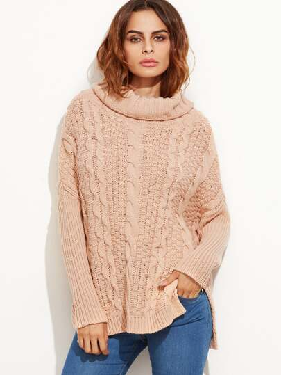 Pink Cable Knit Turtleneck High Low Sweater -SheIn(Sheinside)
