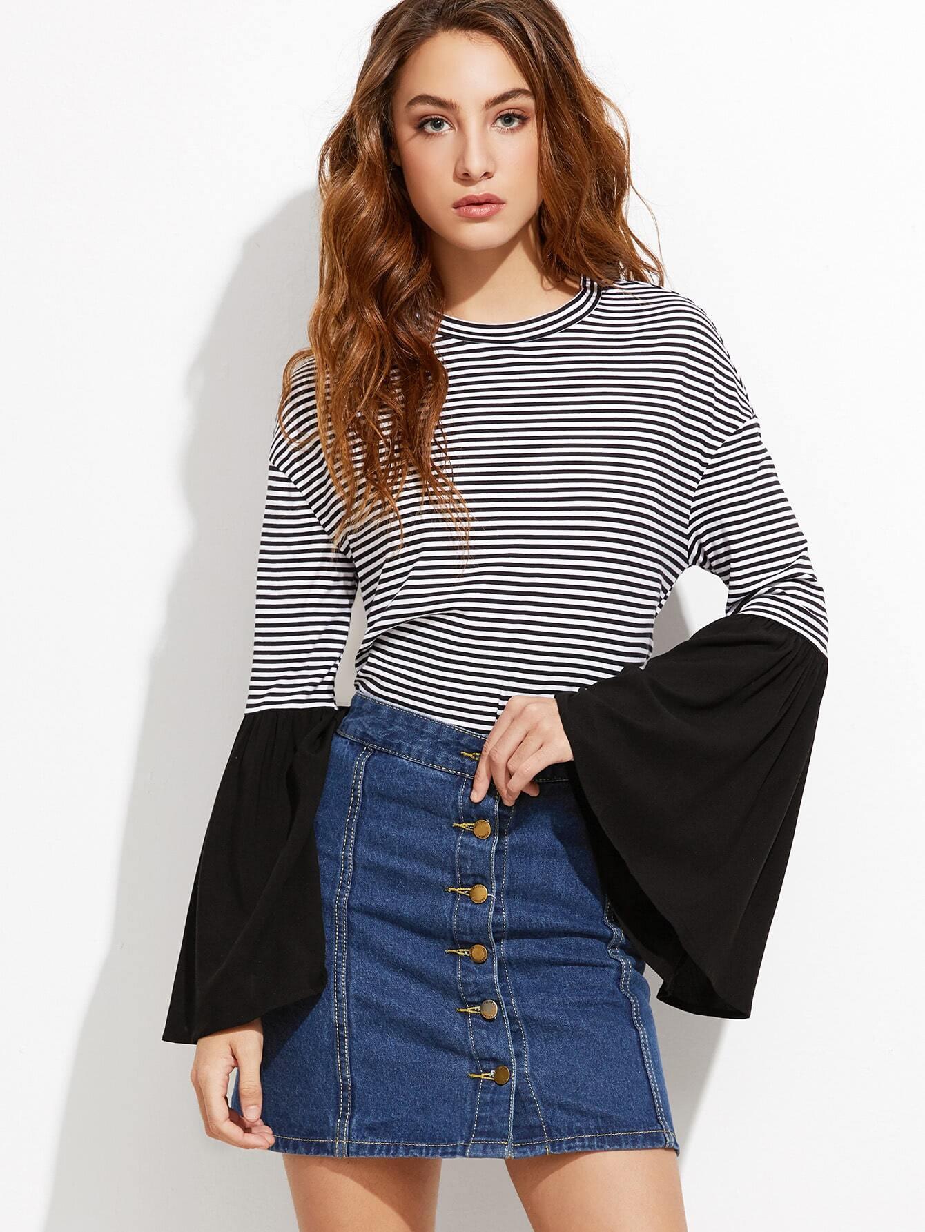 Contrast striped drop shoulder bell sleeve t shirt shein for Bell bottom sleeve shirt