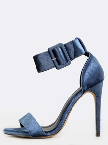 Velvet Stiletto Chunky Buckle Heels DUSTY BLUE