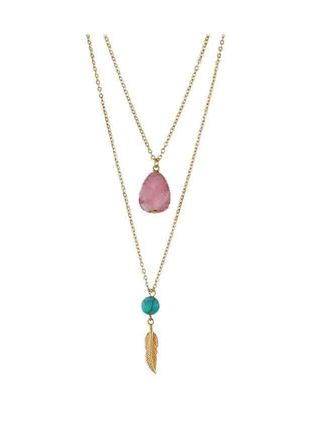 Фото Pink Boho Style Double Layer Artificial Turquoise Feather Pendand Necklace. Купить с доставкой
