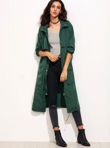 Dark Green Drawstring Utility Coat With Hood