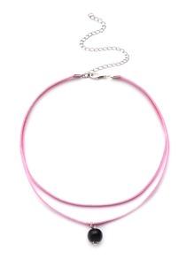 Collier ras-de-cou avec perle couche double - rose