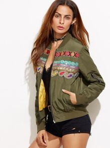 Army Green Embroidered Sequins Embedded Jacket