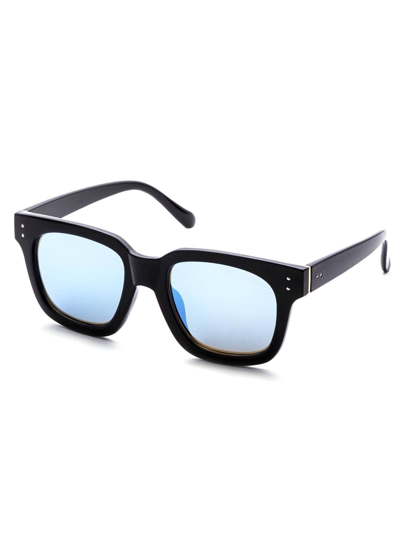 Black Frame Blue Lens Classic Sunglasses sunglass160905312