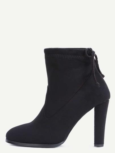 Black Faux Suede Almond Toe Tie Back Short Boots