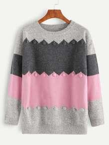 Color Block Marled Knit Pom Pom Embellished Sweater