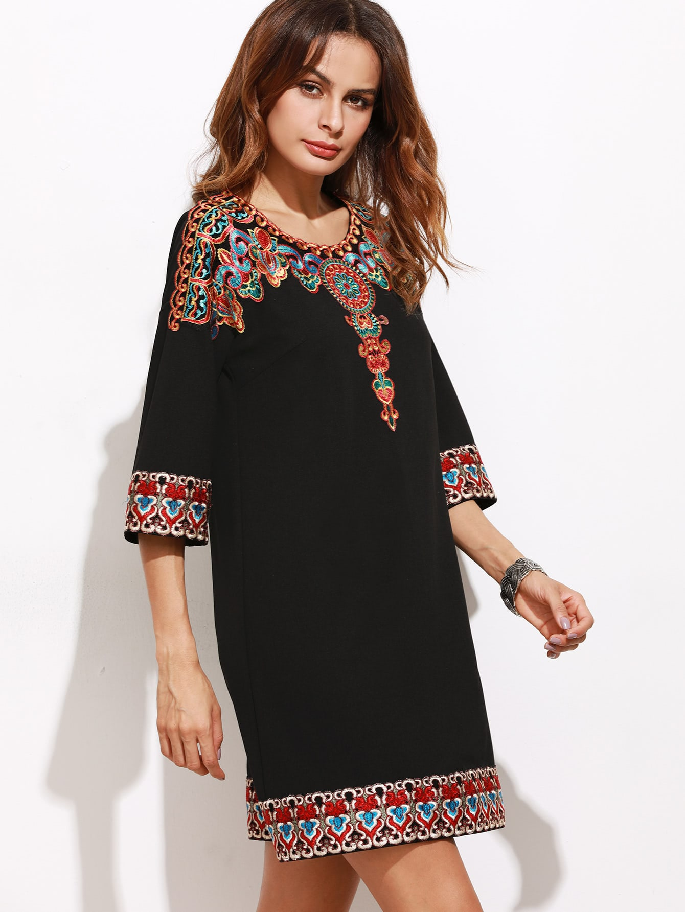 Black 3/4 Sleeve Embroidered Tunic DressBlack 3/4 Sleeve Embroidered Tunic Dress<br><br>color: Black<br>size: XS