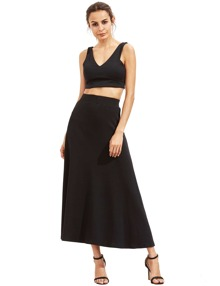 Black High Waist Long Skirt