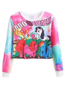 Cartoon Print Crop Sweatshirt