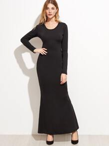 black lace up open back dress sheinsheinside