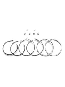 Silver Plated Hoop Earrings Set