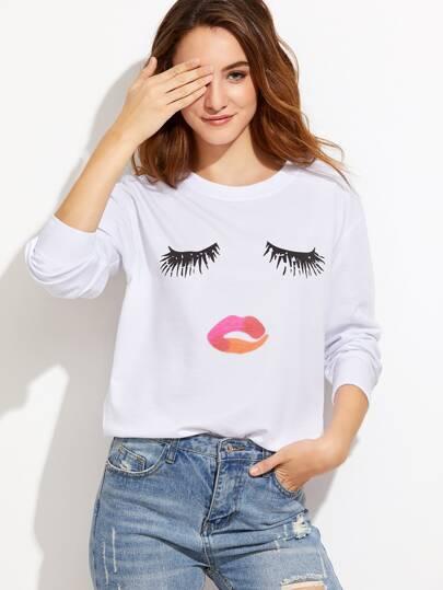 Closed Eyes Print Drop Shoulder Sweatshirt