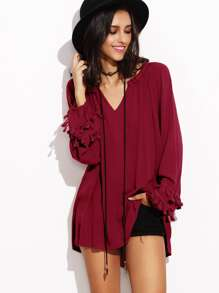 Burgundy V Neck Fringe Trim Dip Hem Top