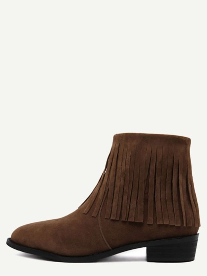 Brown Faux Suede Tassel Ankle Boots