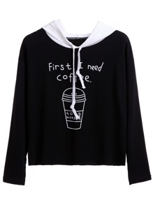 Black Coffee Cup Print Contrast Hooded Sweatshirt