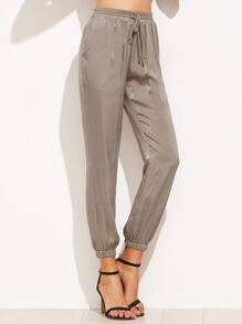 Grey Drawstring Pants With Elastic Cuff
