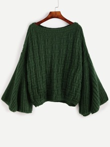 Dark Green Bell Sleeve Loose Sweater