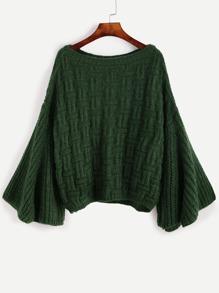 Lose Pullover Dolmanärmel -dunkel grün