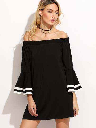 Striped Trim Bell Sleeve Bardot Dress