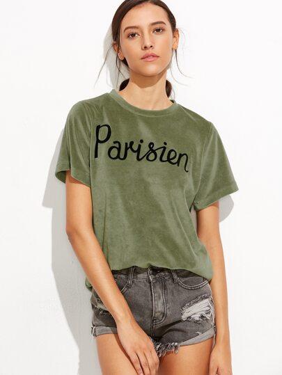 Velvet Letter Print Tshirt