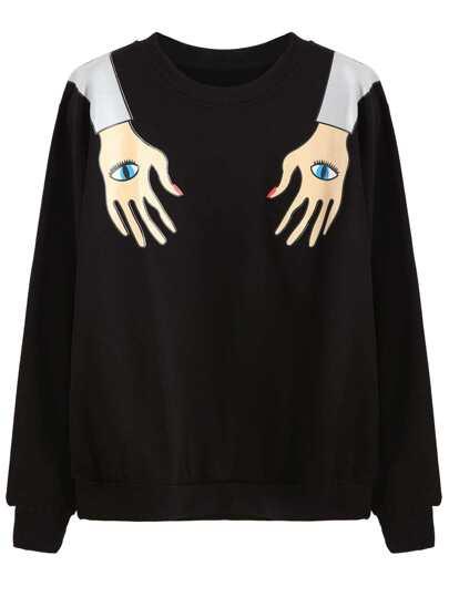 Black Funny Print Sweatshirt