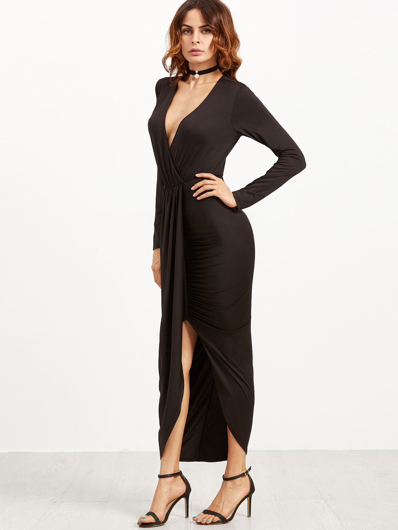 Black Draped Surplice Wrap DressBlack Draped Surplice Wrap Dress<br><br>color: Black<br>size: L,M,S,XS
