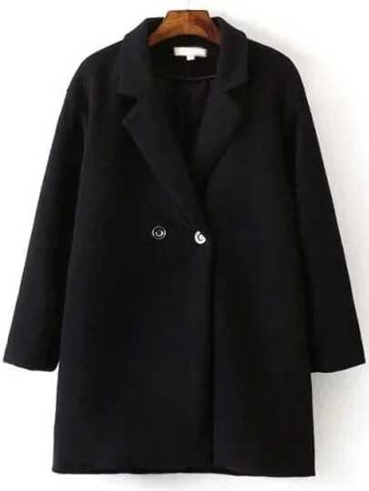 Black Lapel Double Breasted Wool Blend Coat