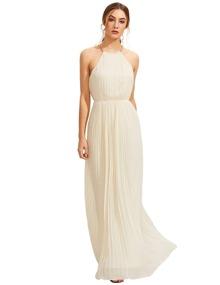 Evening Sleeveless Halterneck Pleated Infinity Maxi Dress