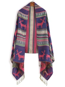 Multicolor Print Long Tassel Scarf