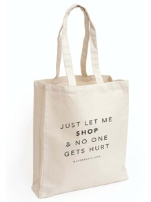 White Letter Print Canvas Shopper Bag