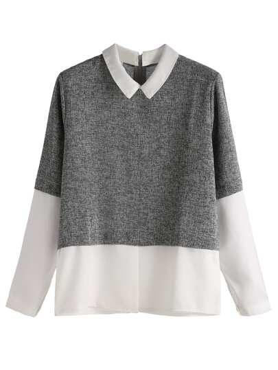 Grey Contrast Zip Back Top