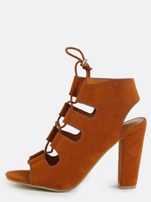 Strappy Lace Up Chunky Heels CHESTNUT
