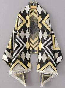 Yellow Geometric Pattern Fringe Hem Scarf