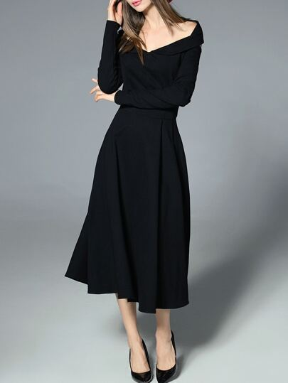 Black V Neck Backless A-Line Dress