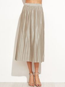Apricot Pleated Elastic Waist Skirt