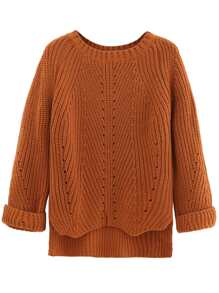 Jersey asimétrico de textura - marrón