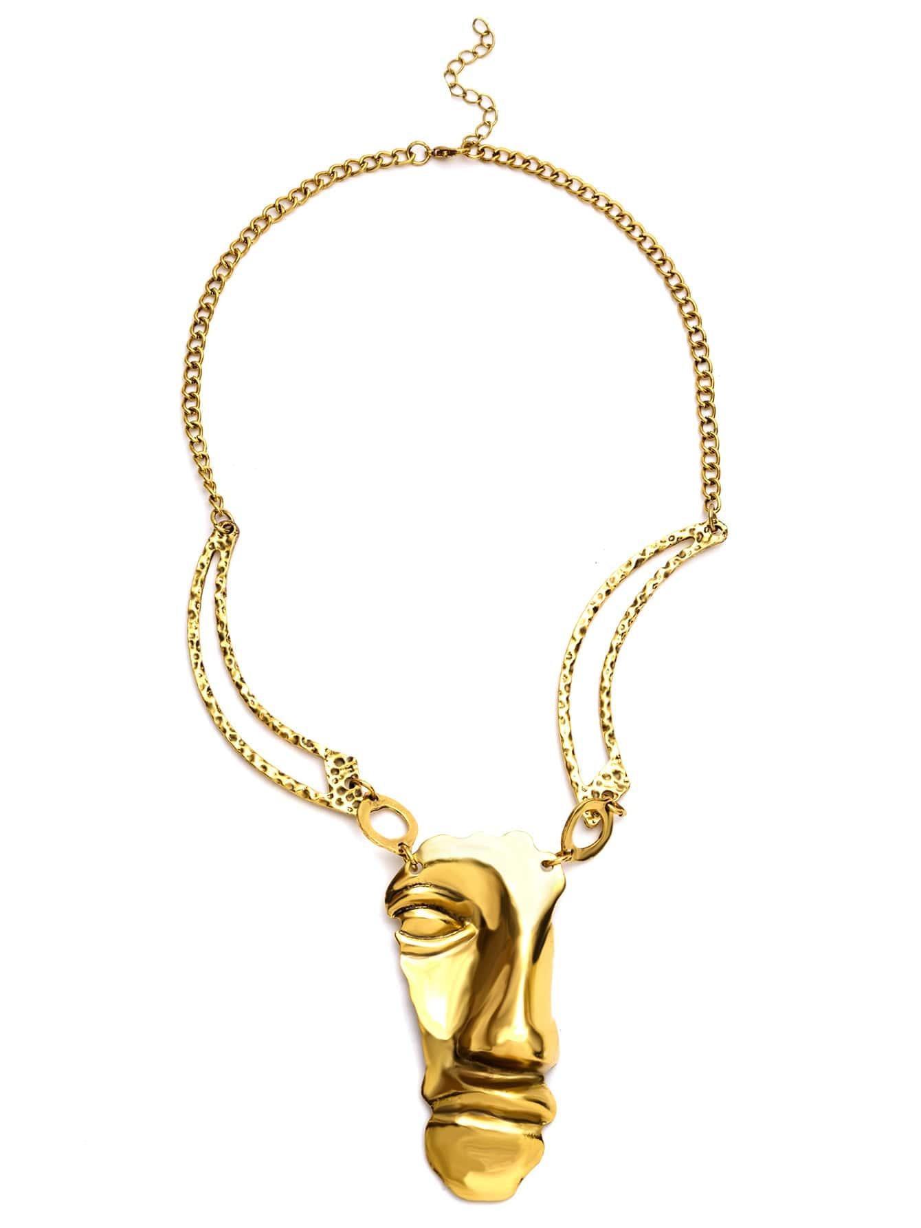 Фото Antique Gold Half A Face Pendant Necklace. Купить с доставкой