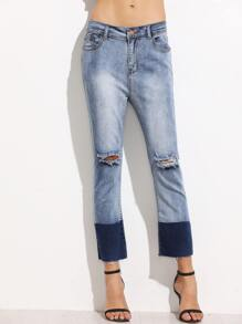 Color Block Ripped Raw Hem Jeans