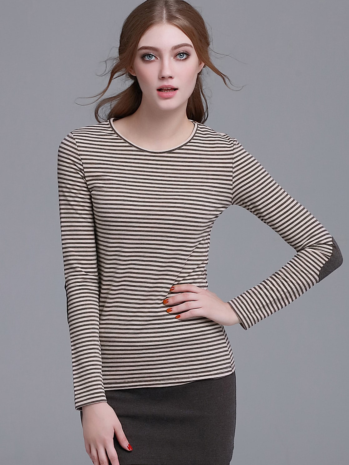 Brown Striped Elbow Patch Long Sleeve T-shirtBrown Striped Elbow Patch Long Sleeve T-shirt<br><br>color: Brown<br>size: L