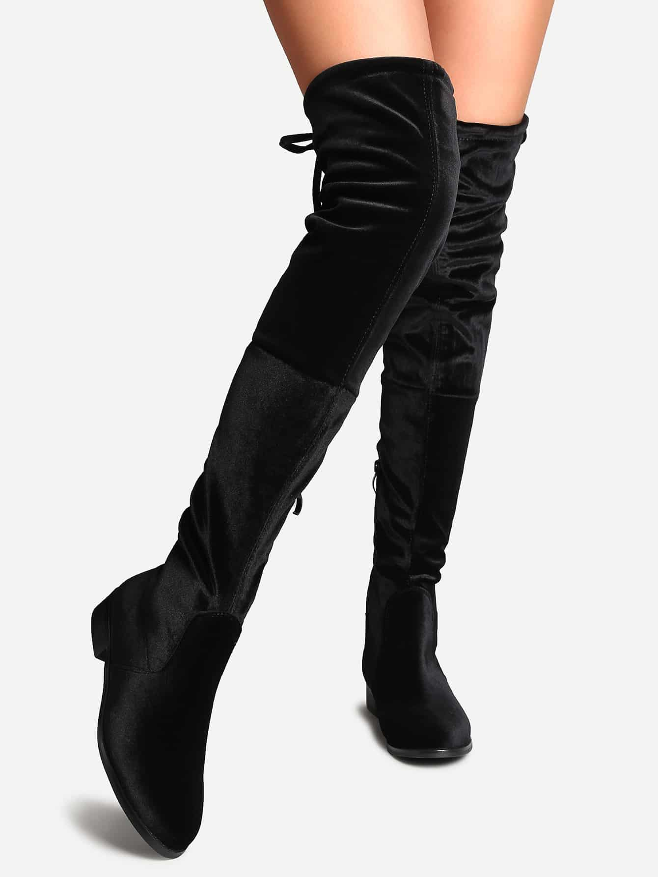 Black Faux Suede Side Zipper Tie Back Over The Knee Boots shoes161005811