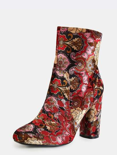vintage inspired patterned ankle booties multi shein